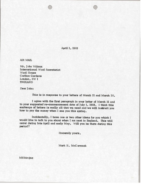 Letter from Mark H. McCormack to John Wilcox, April 1, 1968