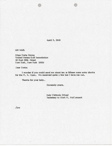 Letter from Judy A. Chilcote to Doris Simms, April 3, 1968