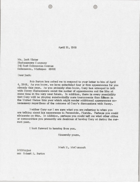Letter from Mark H. McCormack to Jack Slater, April 15, 1969