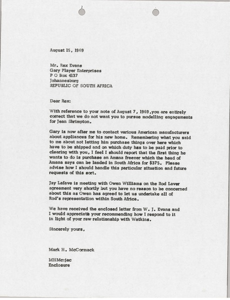 Letter from Mark H. McCormack to Rex Evans, August 15, 1969