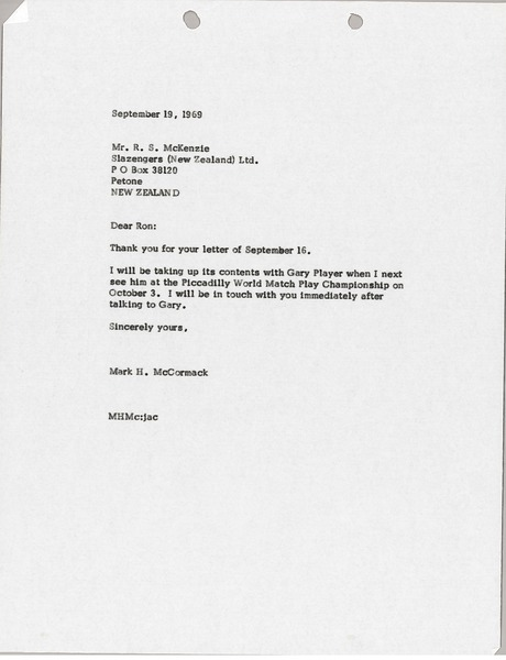 Letter from Mark H. McCormack to R. S. McKenzie, September 19, 1969