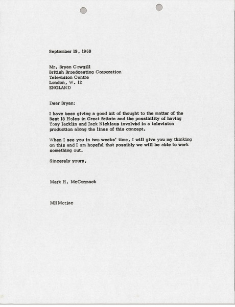 Letter from Mark H. McCormack to Bryan Cowgill, September 19, 1969