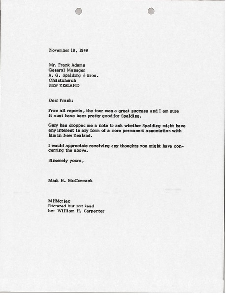 Letter from Mark H. McCormack to Frank Adams, November 19, 1969