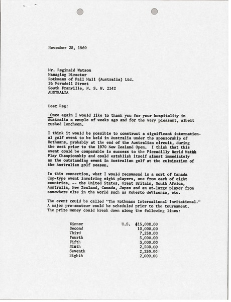 Letter from Mark H. McCormack to Reginald Watson, November 28, 1969