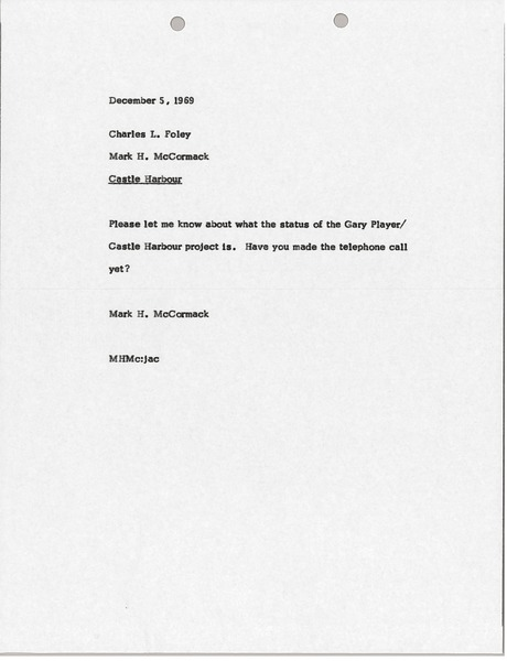 Letter from Mark H. McCormack to Charles L. Foley, December 5, 1969
