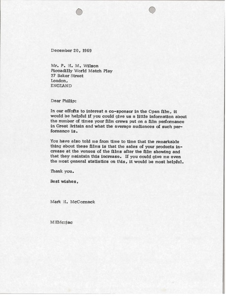 Letter from Mark H. McCormack to Philip H. M. Wilson, December 20, 1969