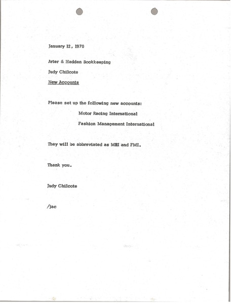 Memorandum from Judy Chilcote to Arter-Hadden Bookkeeping, January 12, 1970