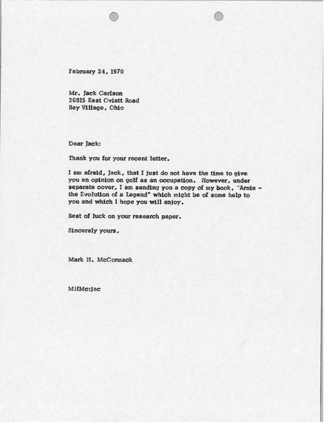 Letter from Mark H. McCormack to Jack Carlson, February 24, 1970