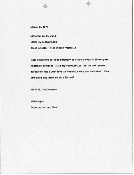 Memorandum from Mark H. McCormack to Malcolm B. S. Bund, March 3, 1970