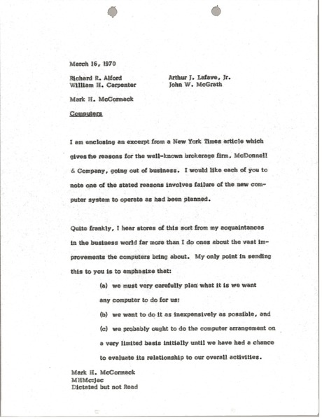 Memorandum from Mark H. McCormack to Richard R. Alford, March 16, 1970