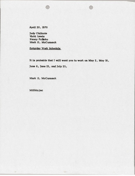 Memorandum from Mark H. McCormack to Judy Chilcote, Vicki Lewis, and Nancy Polinko, April 20, 1970