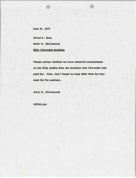 Memorandum from Mark H. McCormack to David A. Rees, June 10, 1970