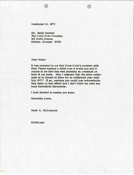 Letter from Mark H. McCormack to Ralph Garrard, September 14, 1970