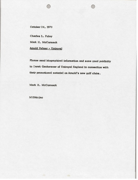 Memorandum from Mark H. McCormack to Charles L. Foley, October 24, 1970