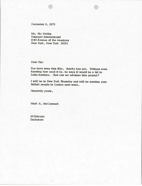 Letter from Mark H. McCormack to Vic Wallis, December 8, 1970