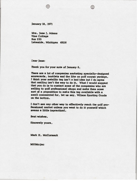 Letter from Mark H. McCormack to Jane J. Adams, January 18, 1971