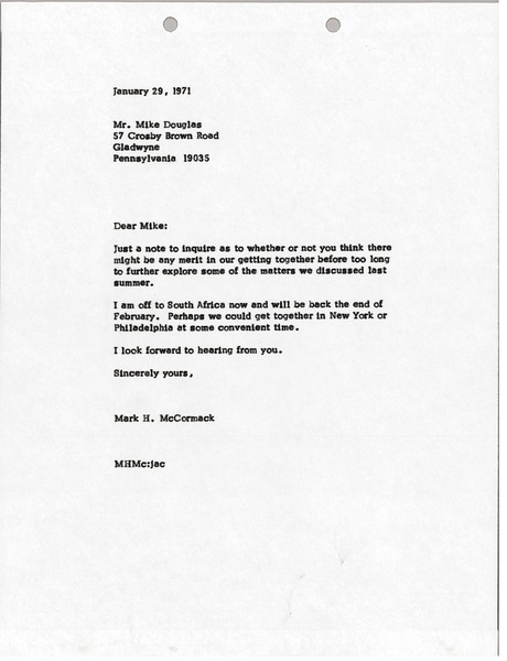 Letter from Mark H. McCormack to Mike Douglas, January 29, 1971