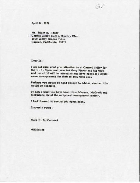 Letter from Mark H. McCormack to Edgar H. Haber, April 14, 1971