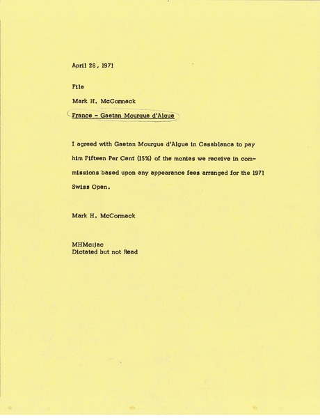 Memorandum from Mark H. McCormack to file, April 28, 1971