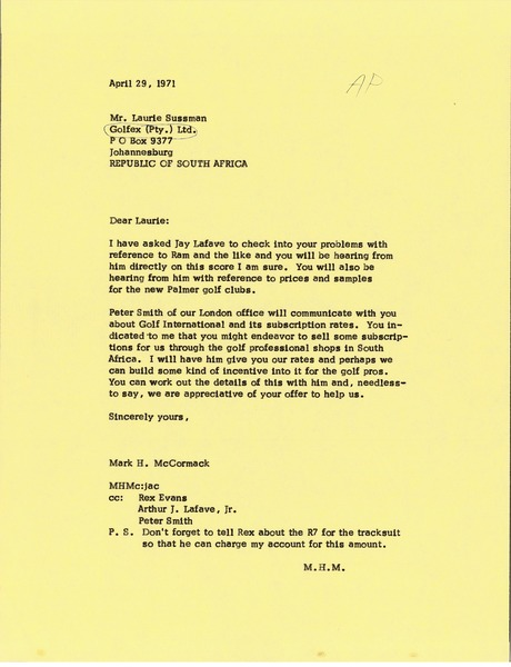 Letter from Mark H. McCormack to Laurie Sussman, April 29, 1971