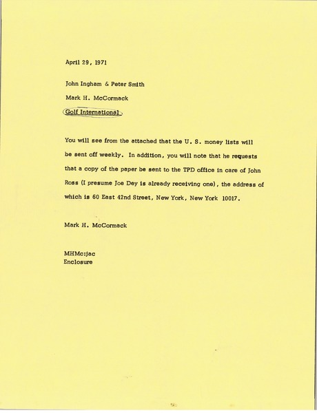 Memorandum from Mark H. McCormack to John Ingham and Peter Smith, April 29, 1971