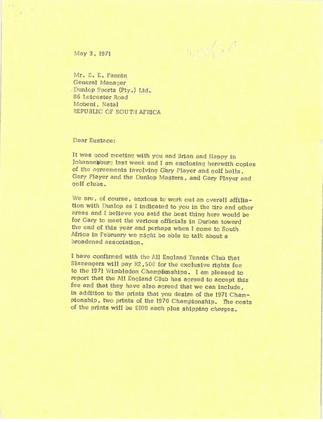 Letter from Mark H. McCormack to E. E. Fannin, May 3, 1971