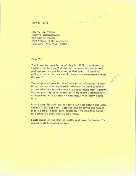 Letter from Mark H. McCormack to V. M. Wallis, May 18, 1971