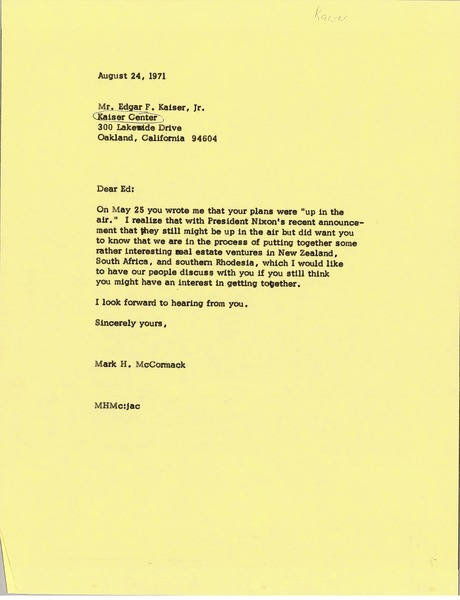Letter from Mark H. McCormack to Edgar F. Kaiser Jr., August 24, 1971