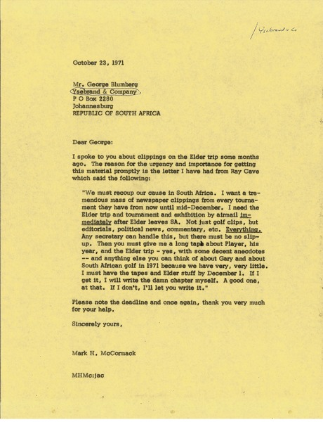 Letter from Mark H. McCormack to George Blumberg, October 23, 1971