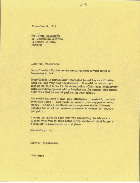 Letter from Mark H. McCormack to Greg Peters, November 19, 1971