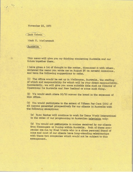 Memorandum from Mark H. McCormack to Jack Urlwin, November 22, 1971