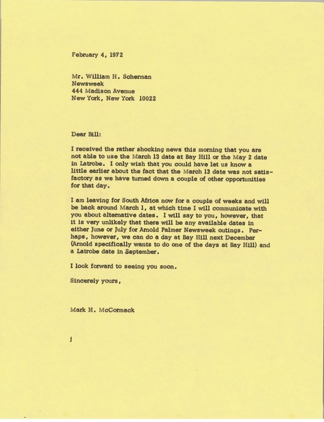 Letter from Mark H. McCormack to William H. Scherman, February 4, 1972