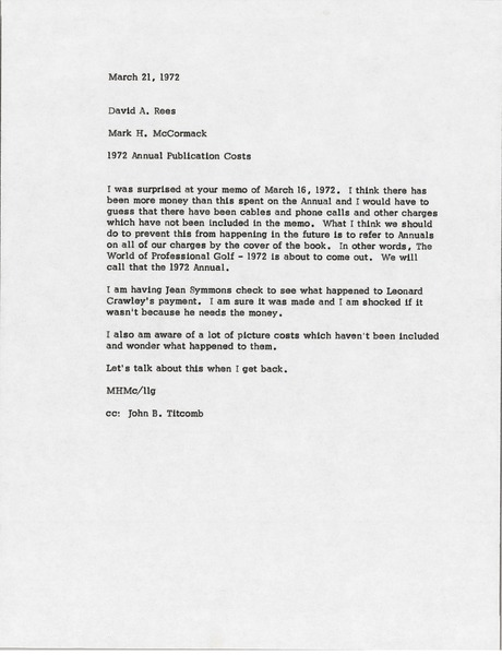 Memorandum from Mark H. McCormack to David A. Rees, March 21, 1972