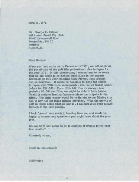 Letter from Mark H. McCormack to George E. Palmer, April 13, 1972
