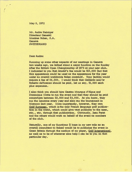Letter from Mark H. McCormack to Andre J. Heiniger, May 8, 1972