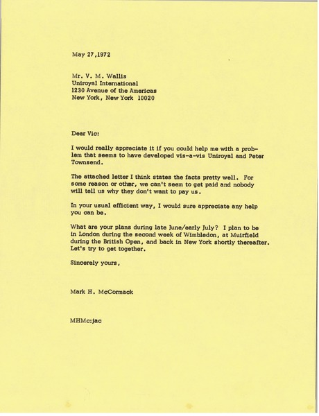 Letter from Mark H. McCormack to Vic Wallis, May 27, 1972