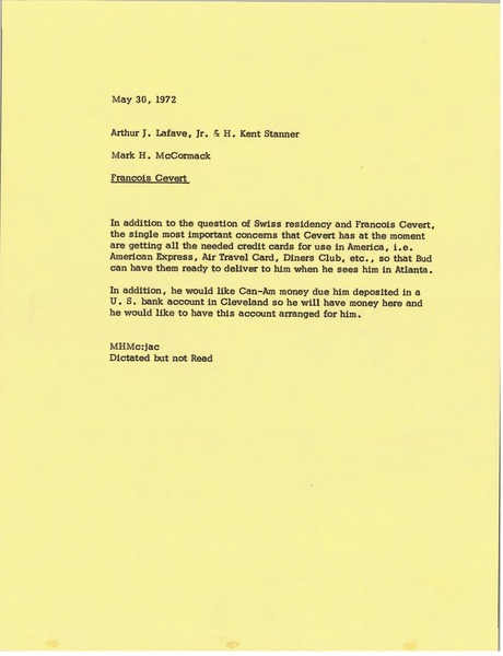 Memorandum from Mark H. McCormack to Arthur J. Lafave and H. Kent Stanner, May 30, 1972