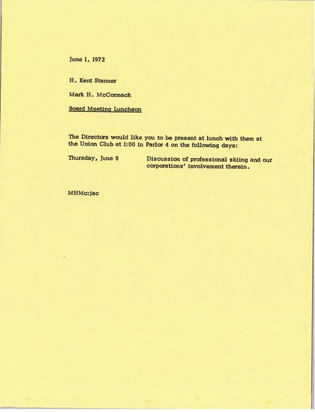 Memorandum from Mark H. McCormack to H. Kent Stanner, June 1, 1972