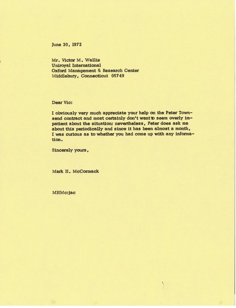 Letter from Mark H. McCormack to Victor M. Wallis, June 30, 1972