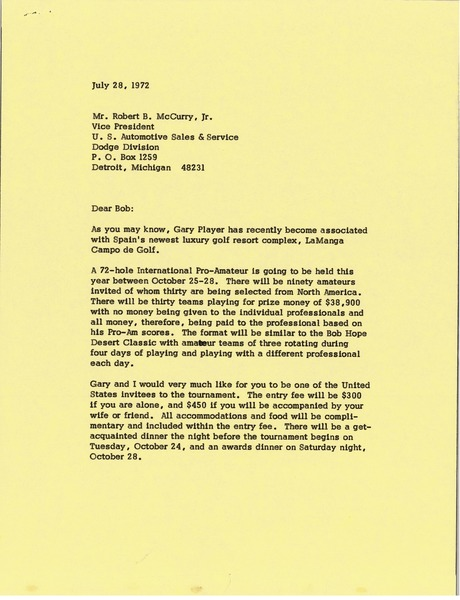 Letter from Mark H. McCormack to Robert B. McCurry Jr., July 28, 1972