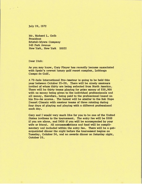 Letter from Mark H. McCormack to Richard L. Gelb, July 28, 1972