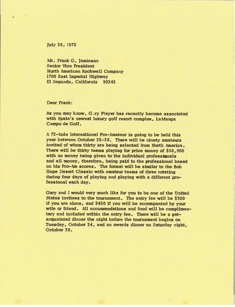 Letter from Mark H. McCormack to Frank Gard Jamison, July 28, 1972