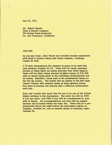 Letter from Mark H. McCormack to Robert Haynie, July 28, 1972