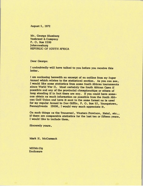 Letter from Mark H. McCormack to George Blumberg, August 5, 1972
