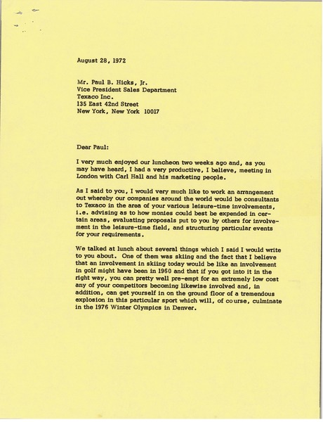 Letter from Mark H. McCormack to Paul B. Hicks Jr., August 28, 1972