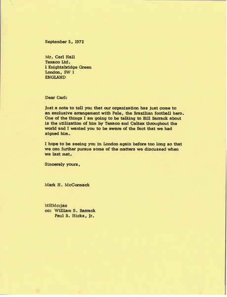 Letter from Mark H. McCormack to Carl Hall, September 5, 1972
