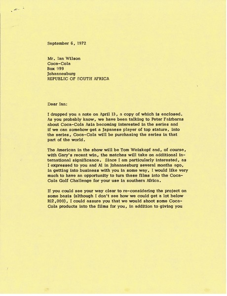 Letter from Mark H. McCormack to Ian Wilson, September 6, 1972