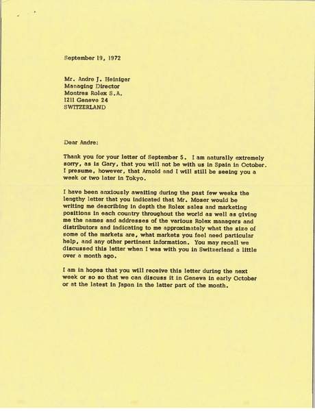 Letter from Mark H. McCormack to Andre J. Heiniger, September 19, 1972
