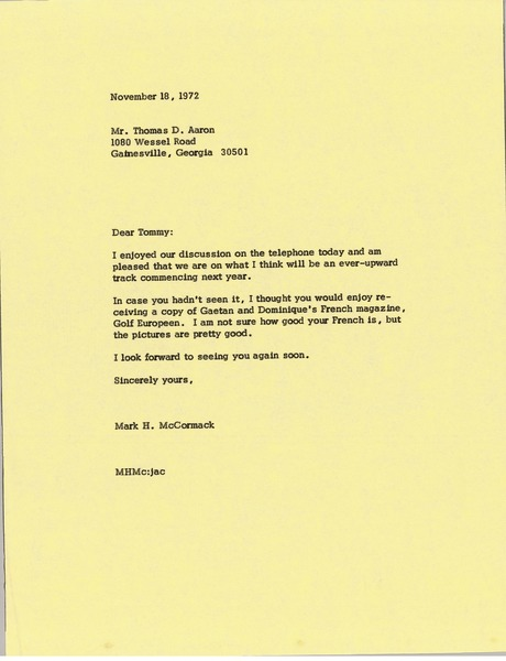 Letter from Mark H. McCormack to Thomas D. Aaron, November 18, 1972