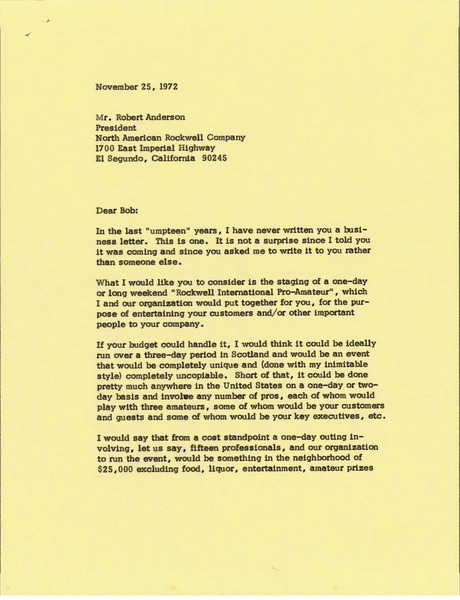 Letter from Mark H. McCormack to Robert Anderson, November 25, 1972